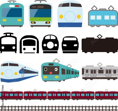 電車と新幹線のアイコンとライン