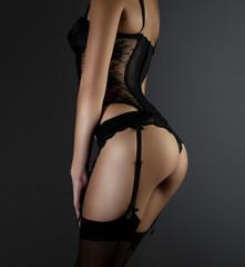 Sexy woman in black underwear (lingerie)