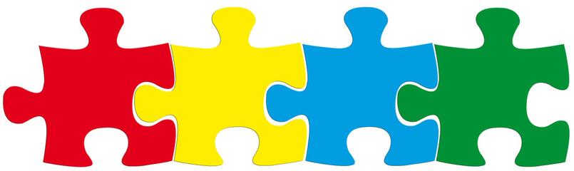puzzles couleurs, 4 pièces en ligne, fond blanc