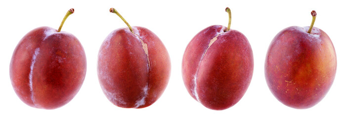 Red plums isolated on white