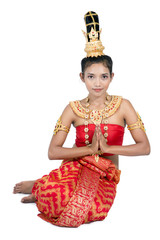 Thai lady sitting in traditional greeting pose