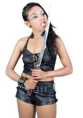 attractive woman in black leather licking sword