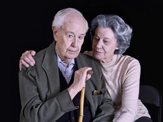 Marriage elderly, on a black background