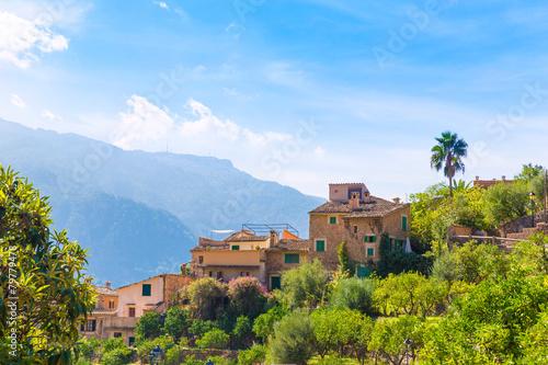 Leinwanddruck Bild Fornalutx village in Majorca Balearic island