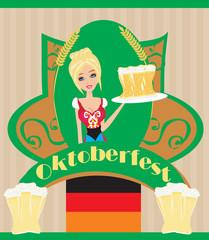 Pretty waitress with beer, Oktoberfest card