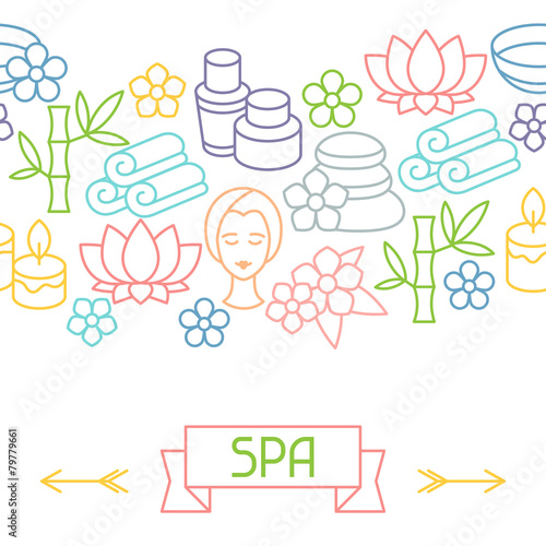 Spa and recreation seamless pattern with icons in linear style - 79779661
