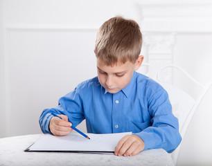 beautiful, caucasian boy draws a pencil on the album  4
