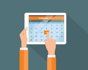 digtal calendar on mobile device for business concept