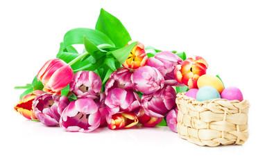 Tulpen, Ostereier, isoliert