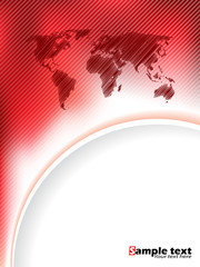 Striped red brochure design with scribbled map