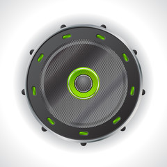 Cool speaker design with green leds