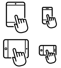 Click on mobile device vector icons set