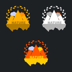 Mountain badge set with wreath. Can be used as stickers, logos,