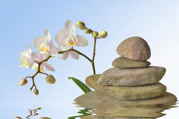 Steinpyramide mit Orchidee