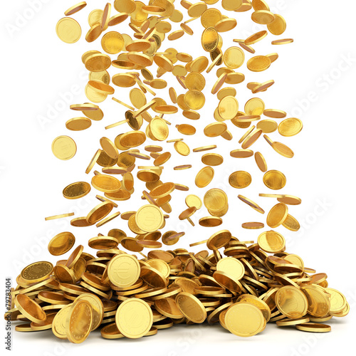 Falling golden coins