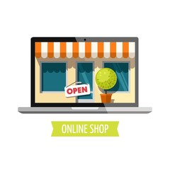 Online shopping concept. Vector illustration.