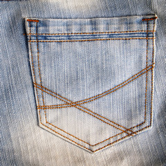 closeup pocket of jean pants