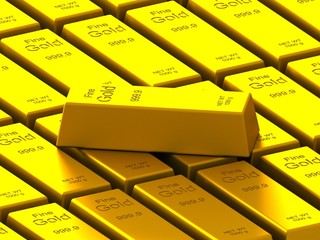 stacks of gold bars on the white