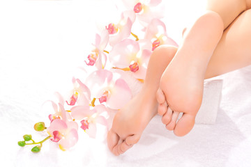 Foot massage in the spa salon