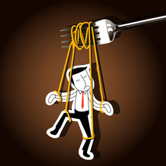 Vector of Businessman marionette on noodle controlled by fork.