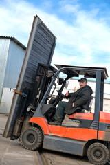 Factory Forklift Truck Stacker Transporting Industrial Door