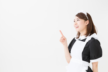 young asian waitress on white background
