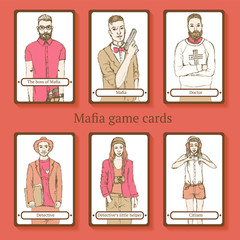 Sketch Mafia cards in vintage style