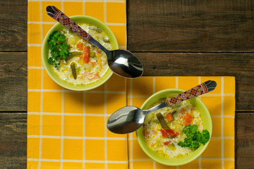 Delicious vegetable soup with cheese