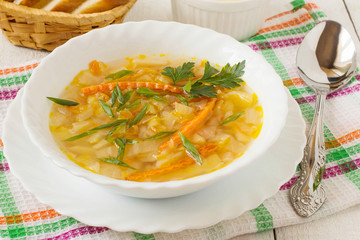 Traditional Russian cabbage soup
