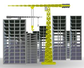 sarı renkli inşaat kulesi