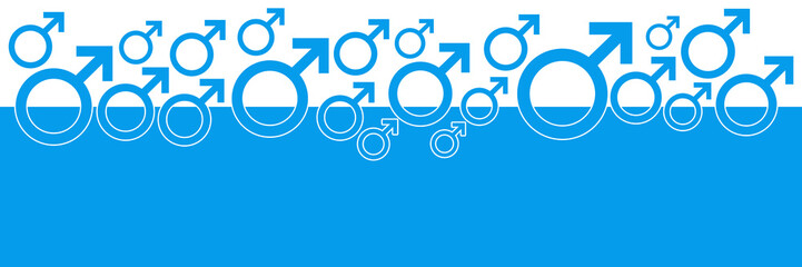 Blue Horizontal Background With Male Symbol