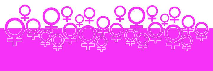 Pink Horizontal Background With Female Symbol