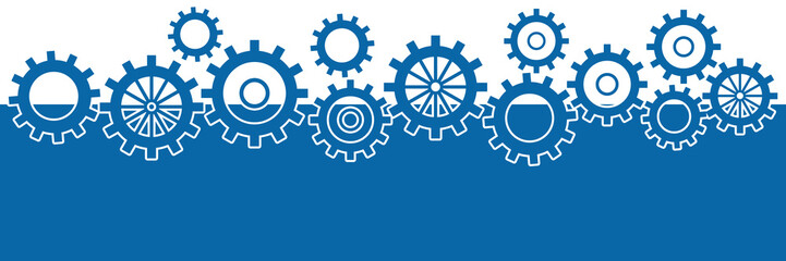 Blue Horizontal Background With Gears
