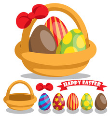 Component of easter eggs and basket