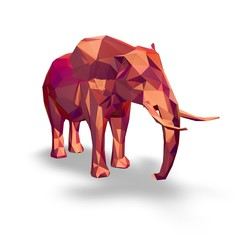 Geometric 3d elephant isolated on white.