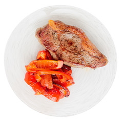 New York steak with grilled bell pepper, isolated