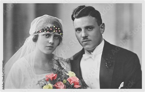 Leinwanddruck Bild heiraten vor 100 Jahren
