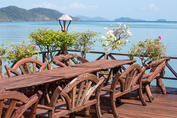 Table and chairs with a beautiful sea view. Koh Chang ,Thailand