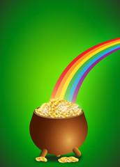 Pentola d'oro con arcobaleno