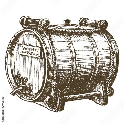 Beer Barrel Drawing Beer Wine Rum Barrel on a
