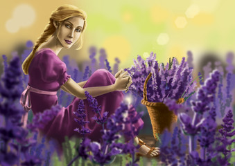 Beautuful Woman And Lavender Field