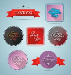 Valentine flat style promo set. EPS10.