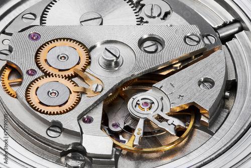 Leinwanddruck Bild Clock mechanism with gears