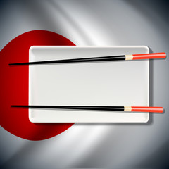 White plate with chopsticks  on Japanese flag background