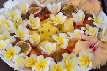 Fruit salad - pineapple, papaya, passion fruit