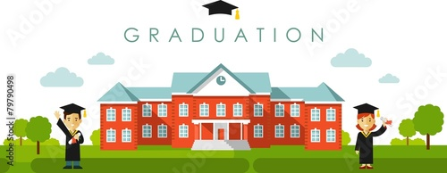 Seamless panoramic graduation background in flat style