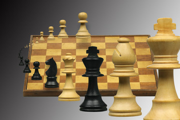 flying chess pieces and chessboard