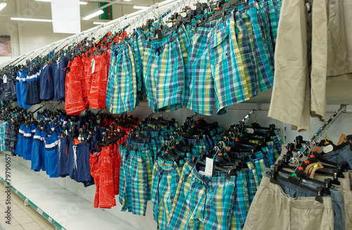 Cheap trousers in a supermarket - 79790657