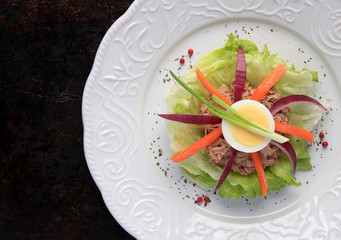 Tuna salad with hard boiled egg served in white plate