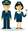 Pilot and stewardess in flat style - 79791097